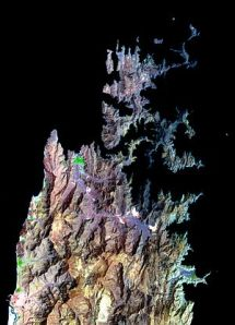 NASA has this colorized shot of the jagged, jagged peninsula with Khasab in green.